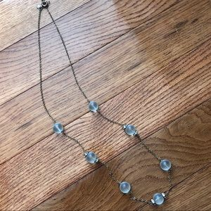 Jcrew blue beaded long necklace gold chain